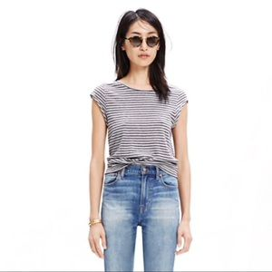 Madewell Marquee Tee in Stripe 100% cotton crew XS